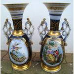 Pair of porcelain vases of Bayeux decoration of characters and birds in reserve circa on 1850