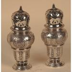 A pair of french silver sugar cellars , Louis XIV style