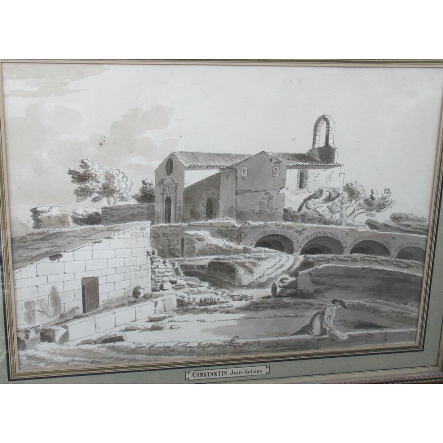 """Jean Antoine CONSTANTIN 1756-1844 attribué à, lavis """"chapelle"""""""