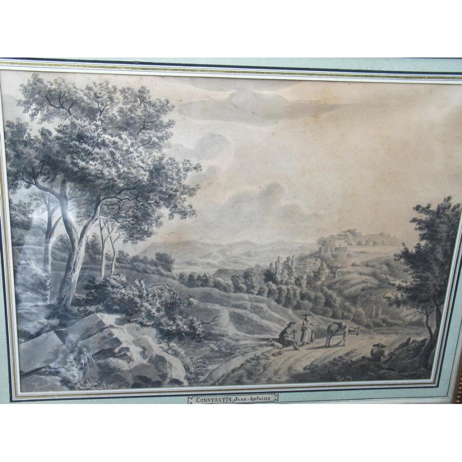 """Jean Antoine CONSTANTIN 1756-1844 attribué à , lavis """"Paysage du midi"""""""