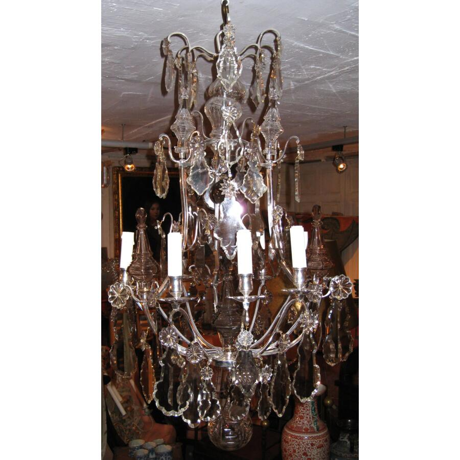 lustre en bronze argent et plaquettes en cristal 9 lumi res style louis xv. Black Bedroom Furniture Sets. Home Design Ideas