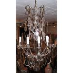 Lustre en bronze argenté et plaquettes en cristal à 9 lumières style Louis XV &