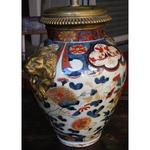 Porcelain vase(mud) of Japan IMARI head of lion in wall lamp on the retaining wall time(period) XIX