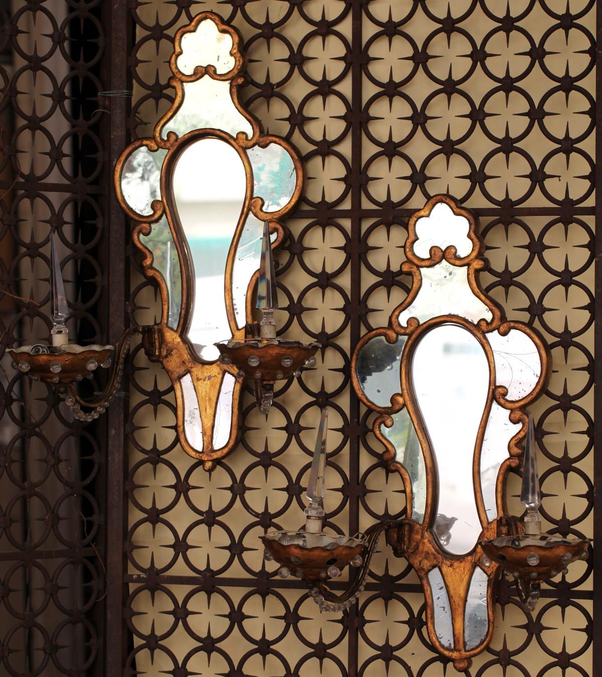Paire appliques fond miroir circa 1940 for Fond miroir
