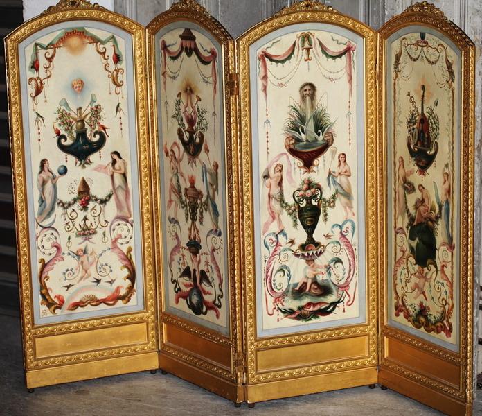 Paravent Peintures Circa 1880