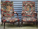 Pair of large armchairs regency style