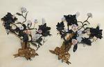 Paire appliques fleurs porcelaine XIX