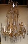 LUSTRE bronze et cristaux style Louis XVI