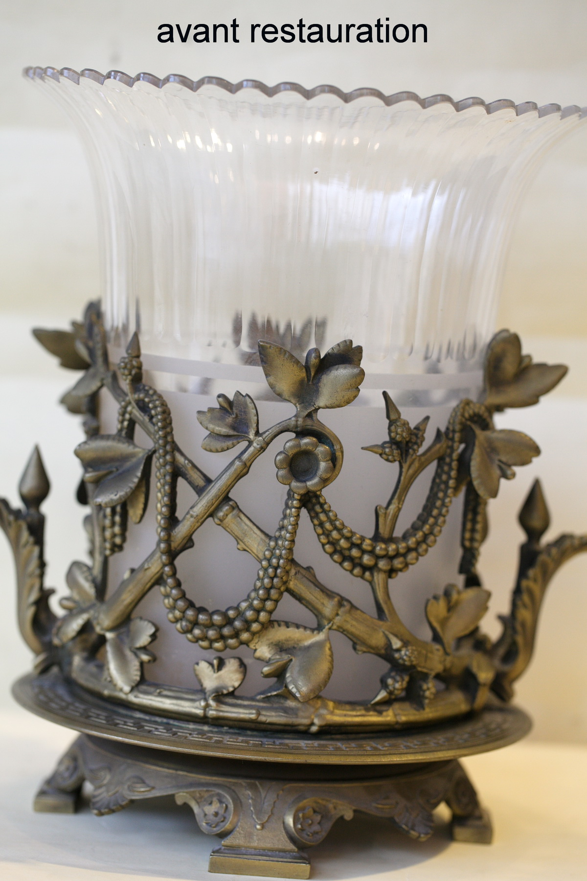 Crystal and bronze vase circa 1880