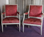 Paire de fauteuils à dossiers plats Louis XVI