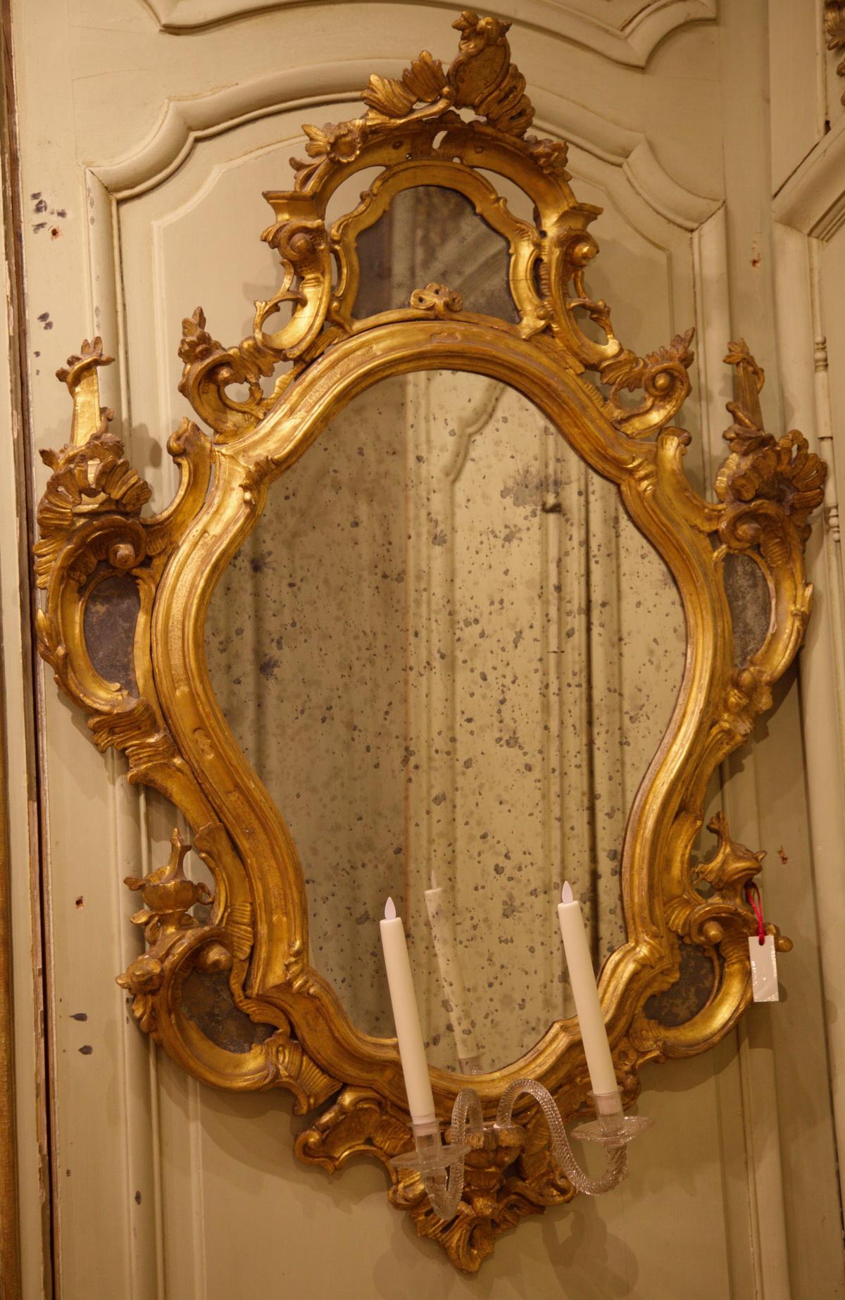 Paire de miroirs italie xviii for Miroir xviii