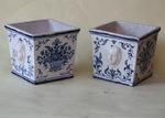 Pair of earthenware cache-pots XVIII