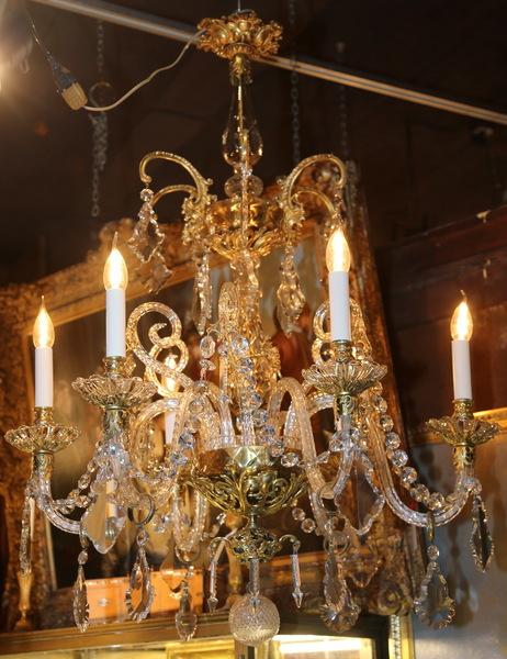 lustre cristal et bronze d but xx. Black Bedroom Furniture Sets. Home Design Ideas
