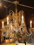 Crystal and bronze chandelier early XX