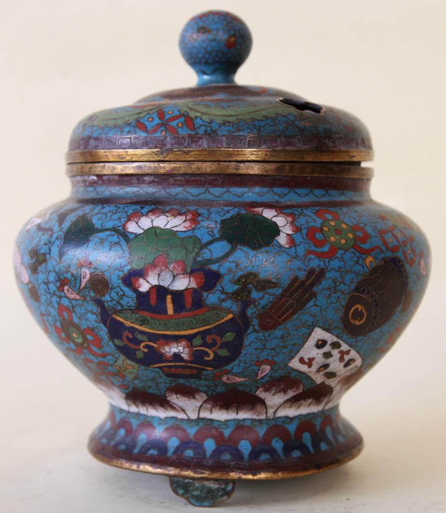 Brûle parfum en émail cloisonné Chine XIX ème