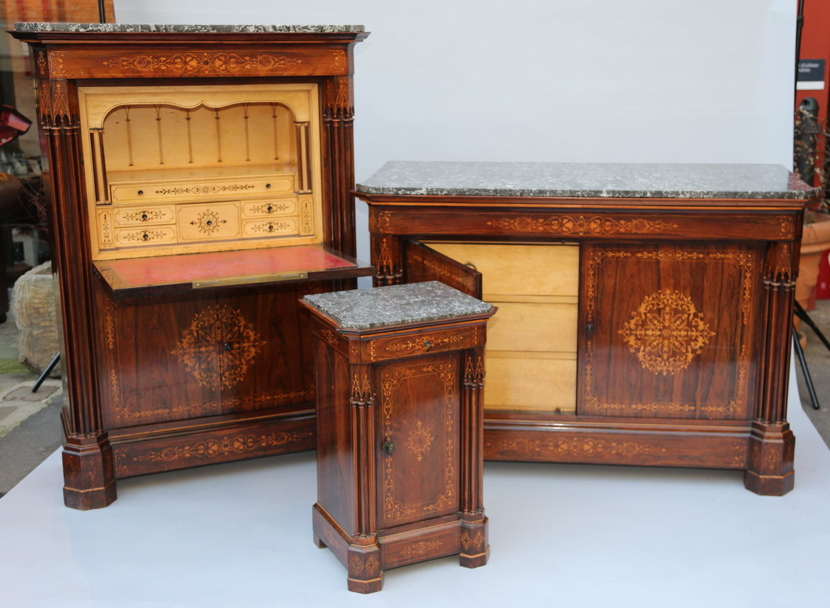 commode secr taire et chevet circa 1830. Black Bedroom Furniture Sets. Home Design Ideas