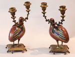 Pair of candlesticks Cailles circa 1850