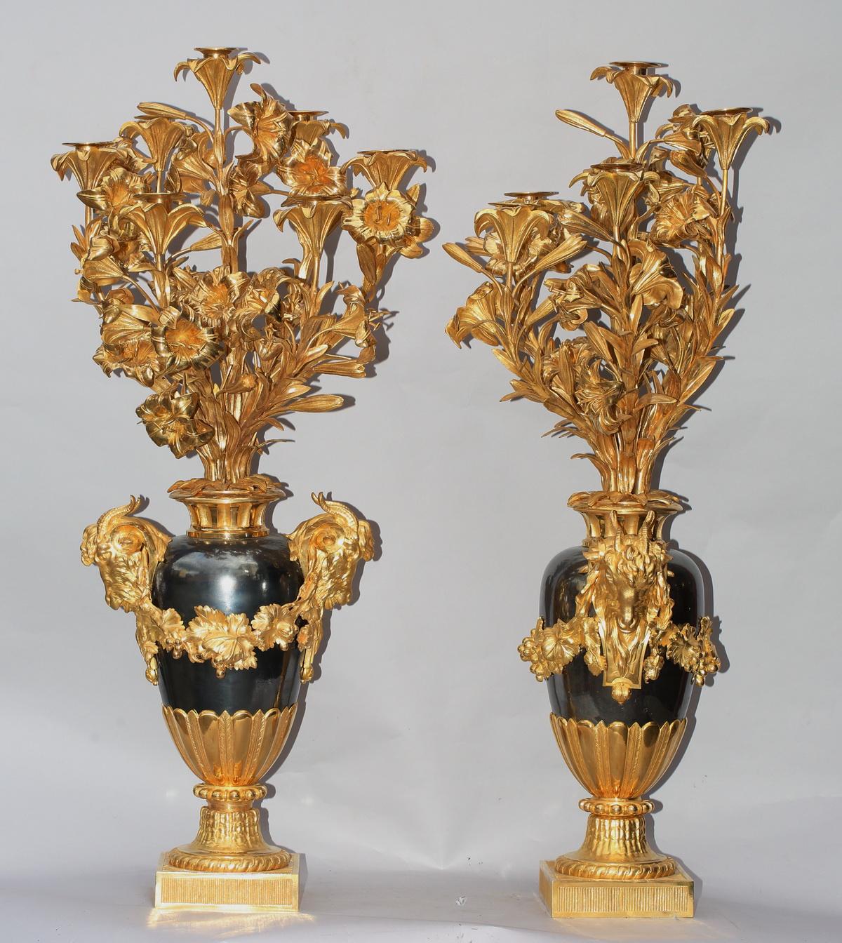Paire candélabres époque XIXème