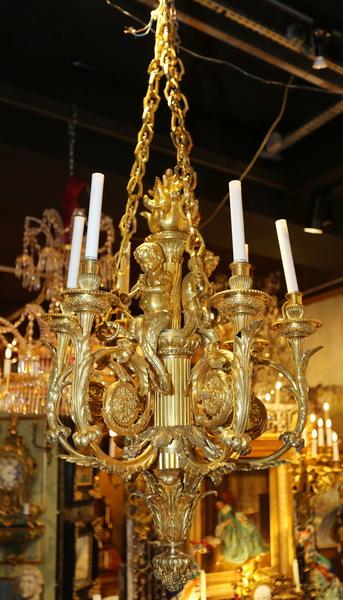 Lustre style Louis XVI bronze doré XIX