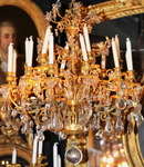 Bronze chandelier and rock crystals circa 1800