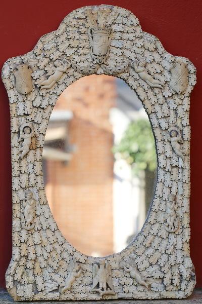 Miroir, travail de Dieppe époque XIXème