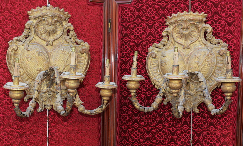Pair of gilded wood wall lights XVIII