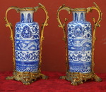 Pair of Chinese XVIII vases, XIX bronze mount