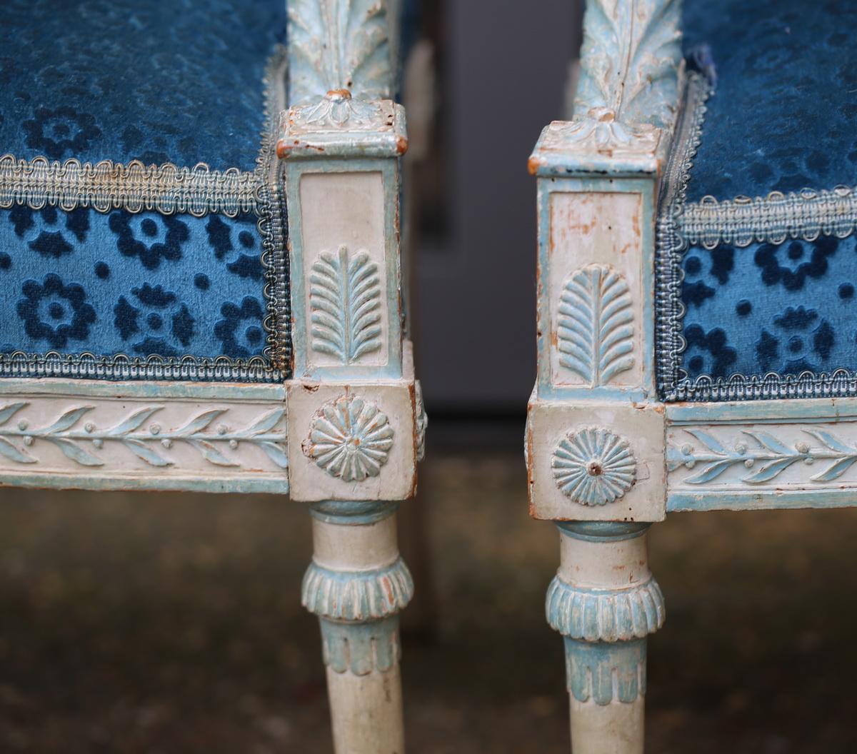Suite de 4 fauteuils fin XVIII