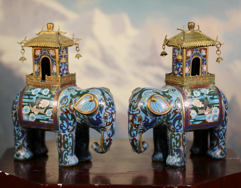 Chine XIXème, éléphants brûle parfum.