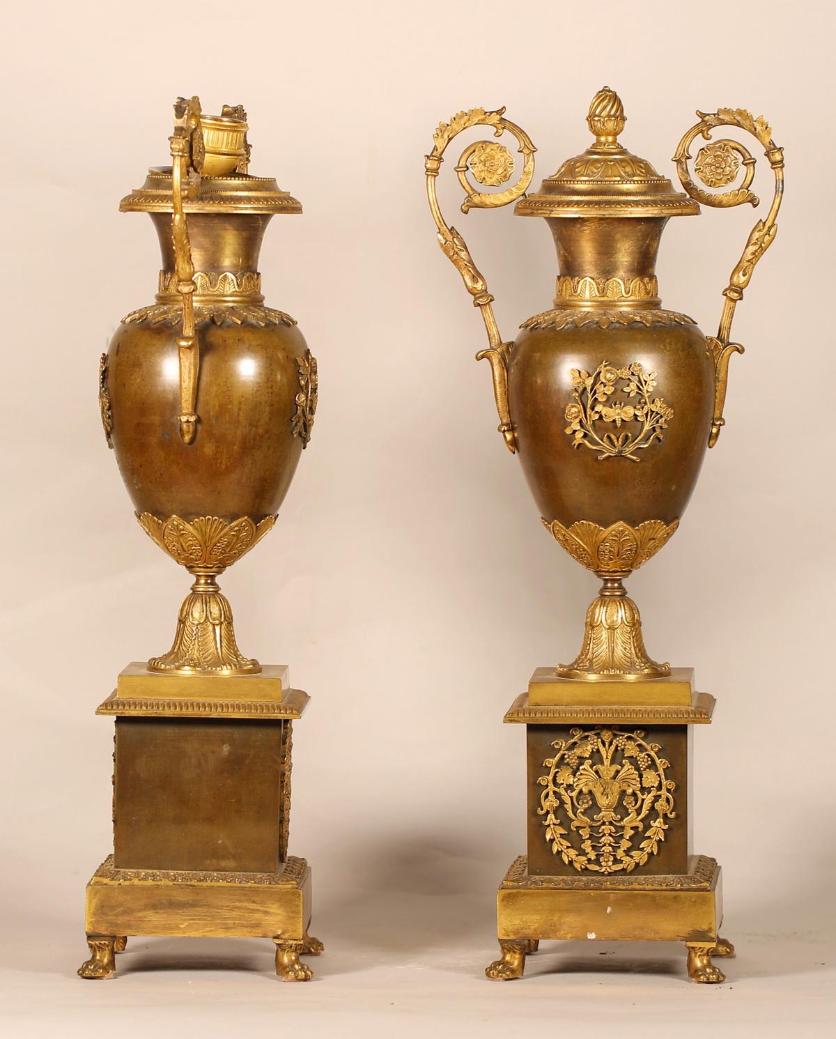 Paire de cassolettes bougeoirs circa 1820