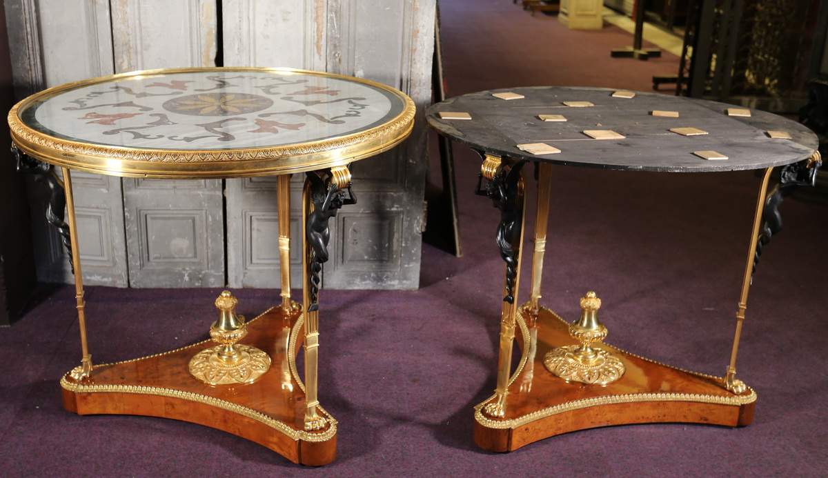 Pair of Directoire style pedestal tables circa 1940