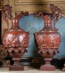 Paire de grandes aiguières Neptune Bacchus