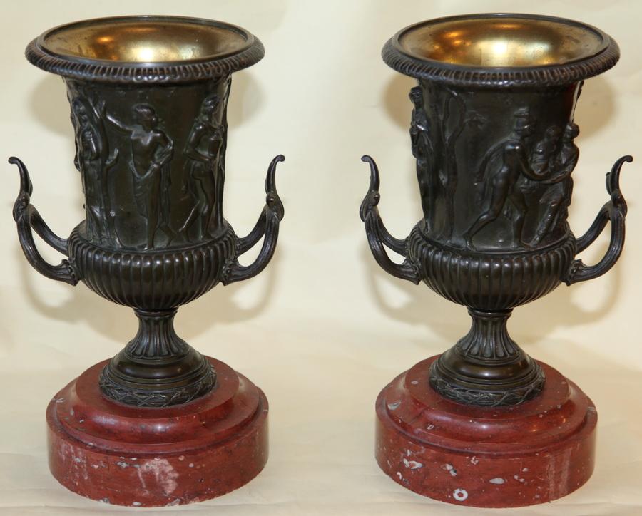 Paire vases bronze XIX