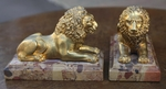 Pair of lions gilt bronze 19 th