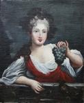 """Ecole Française XVIII """"Jeune femme au raisin"""""""