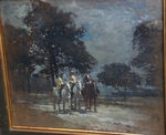 "Amédée Julien Marcel Clément 1873-Ec. Fr "" Three riders in the wood """