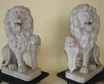 Important pair of fine marble sat lions19th