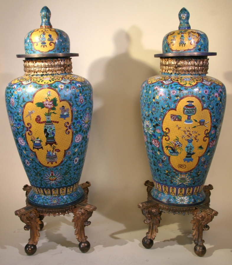 Exceptional pair of vases in compartmentalized enamel