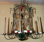 chandelier in painted tole 1940.