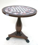 PEDESTAL TABLE PLATEAU MARQUETRY OF MARBRE XIX
